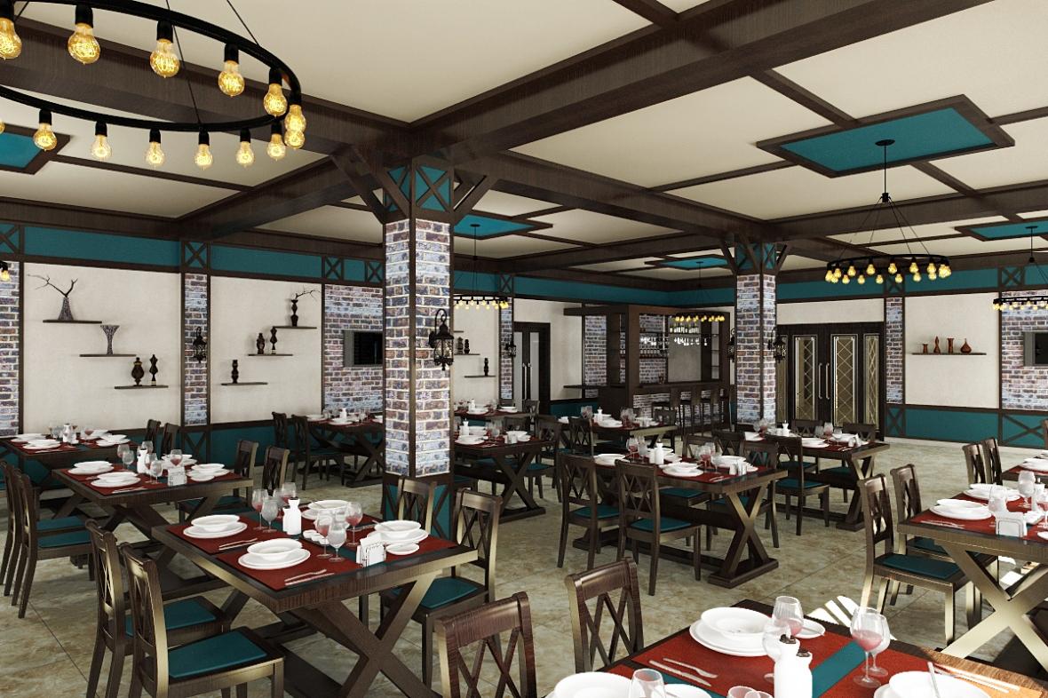 Yolkənarı kiçik restoranın dizaynı